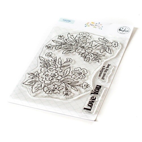 """PinkFresh Studios - Clear Stamp - Happy Blooms Floral - 4"""" x 6"""" - 120821"""