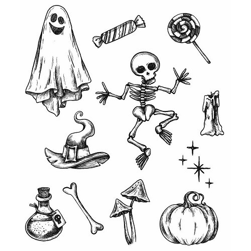 """Stampers Anonymous - Tim Holtz Cling Stamps 7"""" x 8.5"""" - Halloween Doodles - CMS437"""