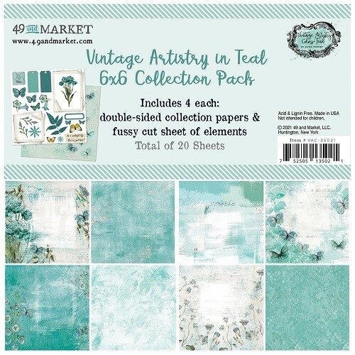 """49 & Market - Vintage Artistry - Colours - In Teal Collection - 6"""" x 6"""" Scrap pad - VAC35021"""