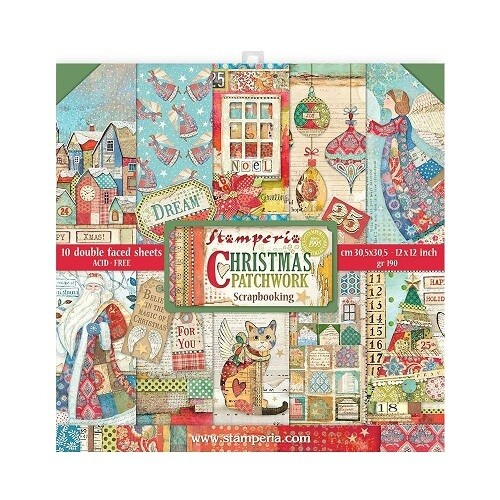 Stamperia - Patchwork Christmas - 12 x 12 Paper Collection - 10 Sheets - SBBL91