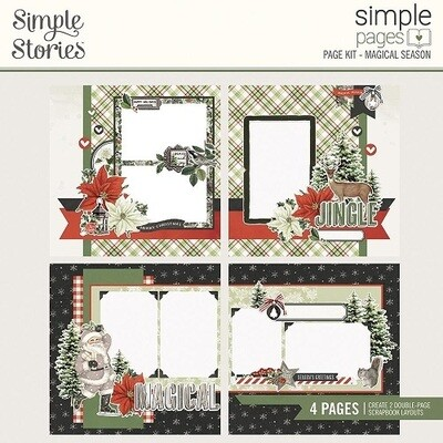 Simple Stories Page Kit - Rustic Christmas Collection - Magical Season - 4 Page Layout Kit RC16034