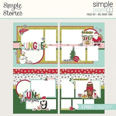 Simple Stories Page Kit - Holly Days Collection - Oh, What Fun - 4 Page Layout Kit - 16128