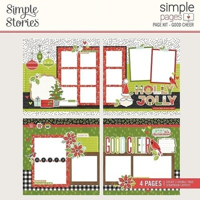 Simple Stories Page Kit - Make It Merry Collection - Good Cheer - 4 Page Layout Kit - 15730