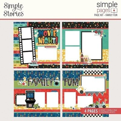 Simple Stories Page Kit - Family Fun Collection - Family Fun - 4 Page Layout Kit - 15626
