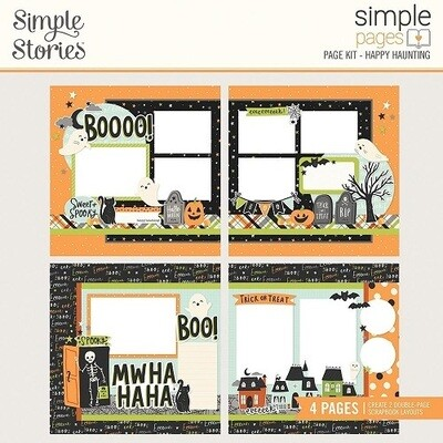 Simple Stories Page Kit - Spooky Nights Collection - Happy Haunting - 4 Page Layout Kit - 16426