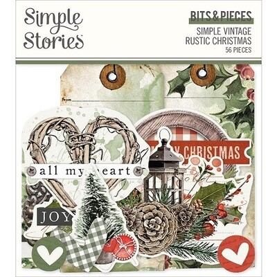 Simple Stories - Simple Rustic Christmas Collection - Bits & Pieces - Die Cuts - 56 pieces - RC16021