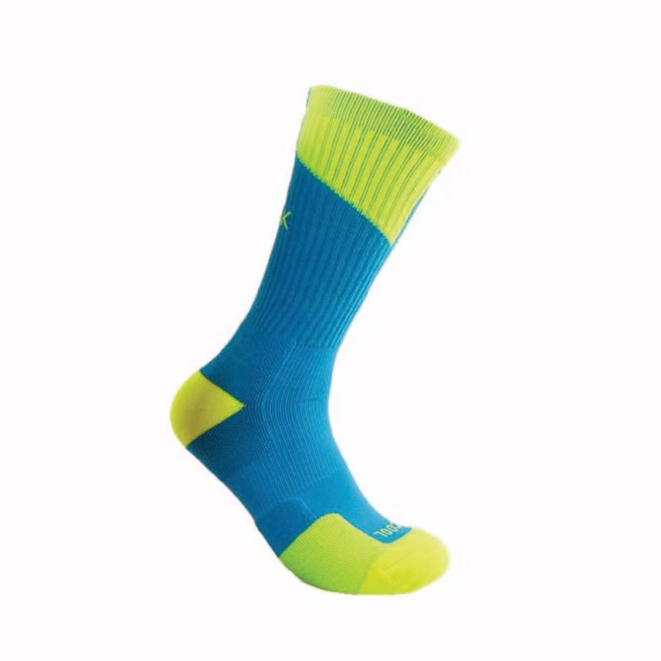 Peak High Cut Basketball Sock (Sky Blue / Fluorescent Green)