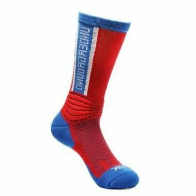 Peak High Cut Basketball Sock (Red Blue)