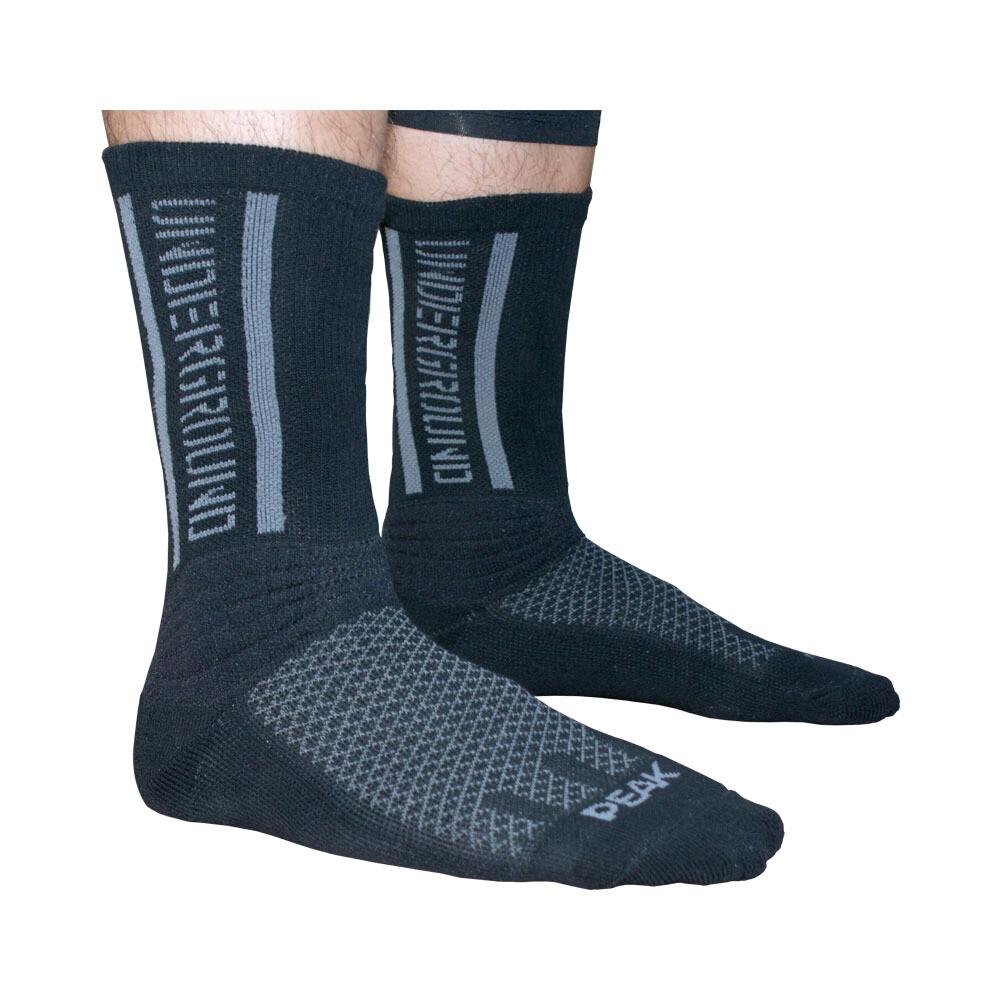 Peak High Cut Basketball Sock (Black Grey)