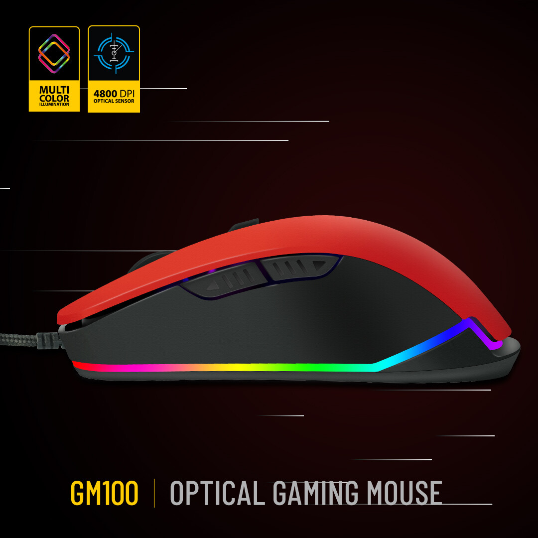 ANT Esports GM100 Wired Optical Gaming Mouse - Red