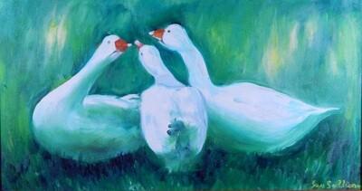 """""""Three Ducks"""" Oil Painting, by Jan Sullivan"""