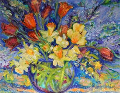 """""""Tulips and Daffodils"""" Oil Painting, by Jan Sullivan"""