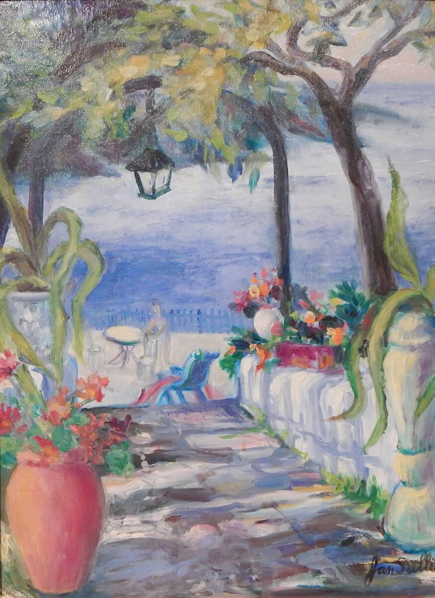 """Veranda by the Sea"" Oil Painting, by Jan Sullivan"