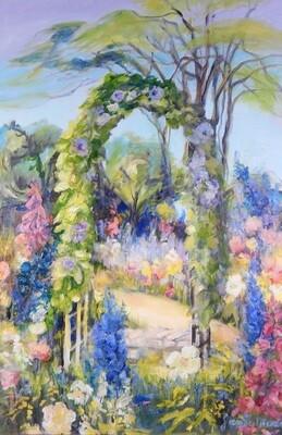 """""""Garden Trellis"""" Oil Painting, by Jan Sullivan"""