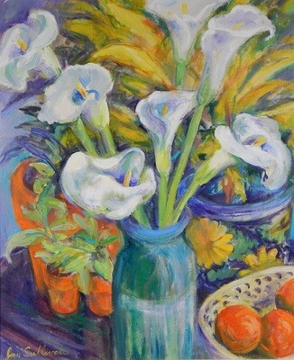"""""""Calla Lilies"""" Oil Painting, by Jan Sullivan"""