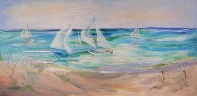 """Sailboats"" Oil Painting, by Jan Sullivan"