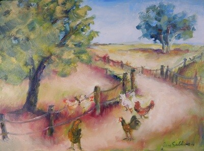 """""""Chickens on the Path"""" Oil Painting, by Jan Sullivan"""