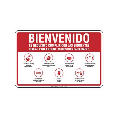 Rótulo - BIENVENIDOS (REGLAS PARA ENTRAR NO GUANTES)