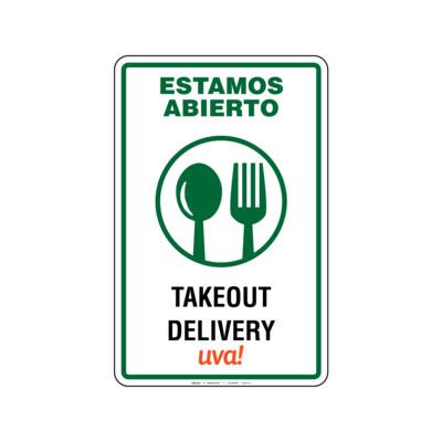 Rótulo Estamos Abierto -Takeout & Delivery-Uva!