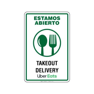 Rótulo Estamos Abierto -Takeout & Delivery-Uber Eats