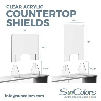 Countertop Protective Shields Acrylic ⅛ in