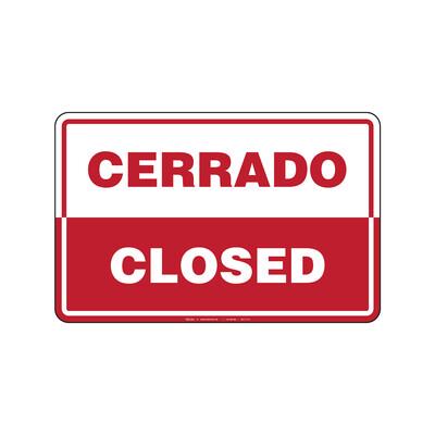 Rótulo - CERRADO/CLOSED (BILINGÜE)