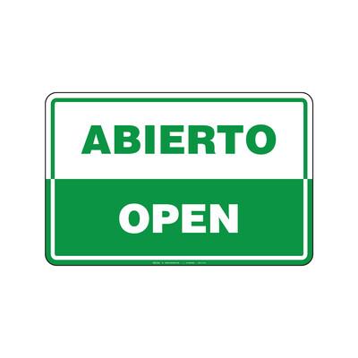 Rótulo - ABIERTO/OPEN (BILINGÜE)