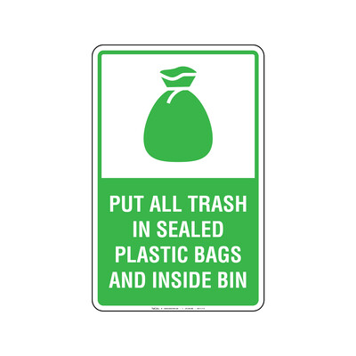 Rótulo - PUT ALL TRASH IN SEALED PLASTIC BAGS AND INSIDE BIN