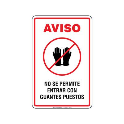 Rótulo Aviso - NO SE PERMITE ENTRAR CON GUANTES PUESTOS