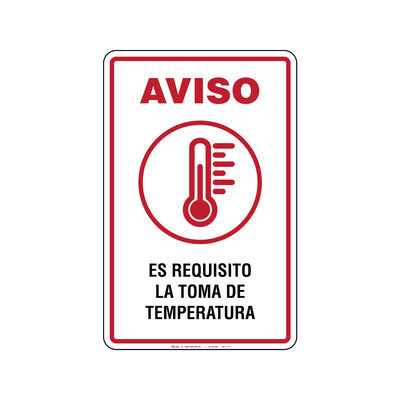 Rótulo Aviso - ES REQUISITO LA TOMA DE TEMPERATURA