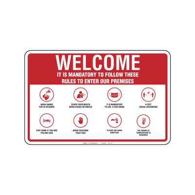 Rótulo - WELCOME MANDATORY RULES (REQUIRE TAKING TEMPERATURE )