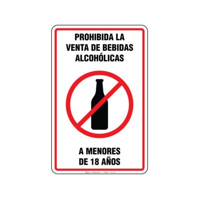 Rótulo - PROHIBIDA LA VENTA DE BEBIDAS ALCOHOLICAS A MENORES DE 18 AÑOS