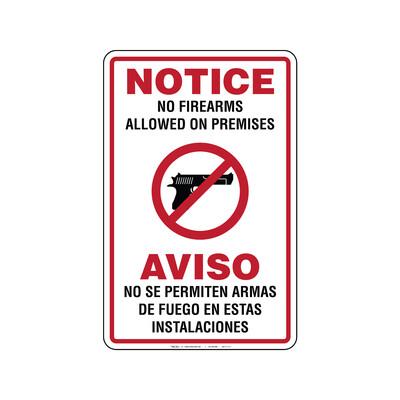 Rótulo - NO SE PERMITEN ARMAS DE FUEGO EN ESTAS INSTALACIONES (BILINGÜE)