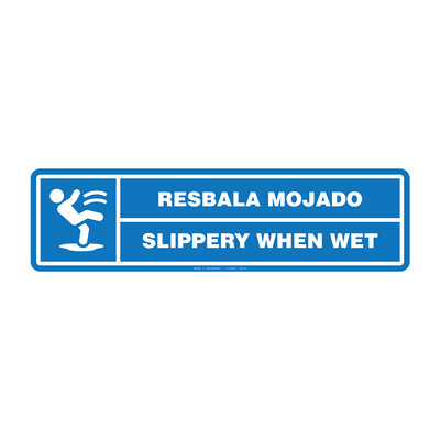 Rótulo - RESBALA MOJADO / SLIPPERY WHEN WET (BILINGÜE)