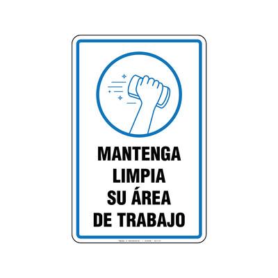 Rótulo - MANTENGA SU AREA DE TRABAJO LIMPIA