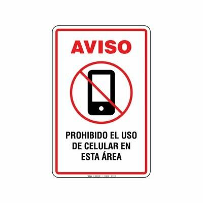 Rótulo Aviso - PROHIBIDO EL USO DE CELULAR EN ESTA AREA