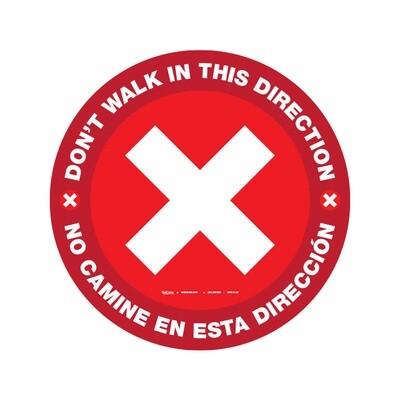 Gráfico de Piso - No Camine en Esta Dirección Bilingüe