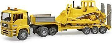 BRUDER; Man Tga Low Loader Truck With Cat Bulldozer