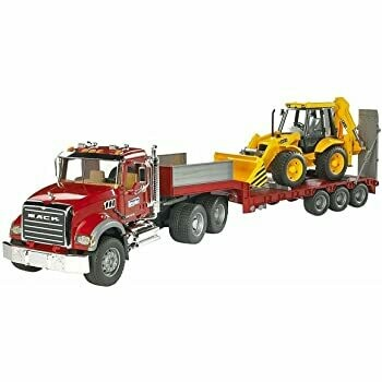 BRUDER; Mack Granite Flatbed Truck With Jcb Load