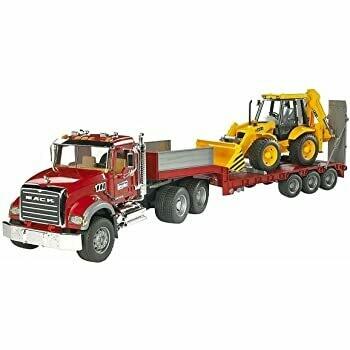 BRUDER; Mack Granite Flatbed Truck With Jcb Load