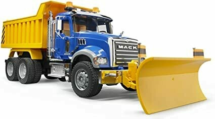 BRUDER; Mack Granite Dump Truck With Snow Plow Blade