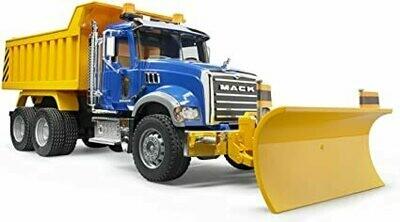 BRUDER; Mack Granite Dump Truck With Snow Plow Blade