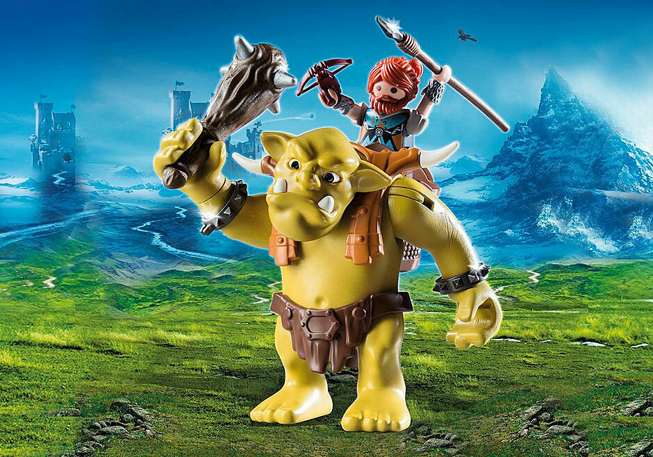 Playmobil; Giant Troll With Dwarf Fighter