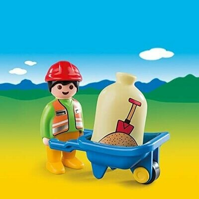 Playmobil; 123 Builder With Barrow