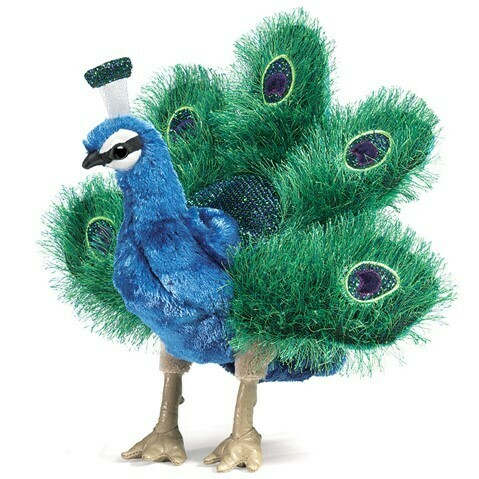 Folkmanis Puppets; Small Peacock Puppet