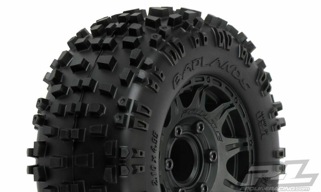 "Pro-Line; Badlands 2.8"" All Terrain Tires Mounted On Raid"