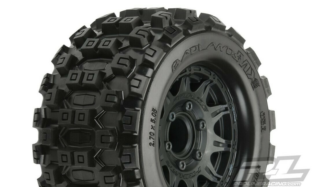 "Pro-Line; Badlands MX28 2.8"" All Terrain Tires Mounted on Raid Black 6x30 Removable Hex Wheels (2) for Stampede 2wd & 4wd Front and Rear"