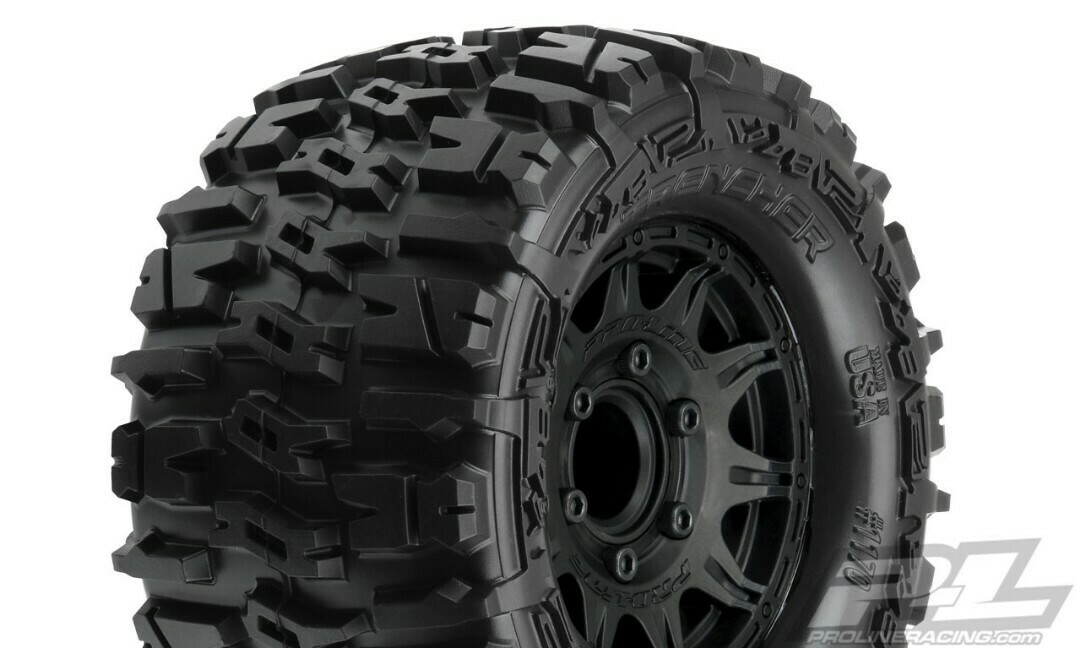 "Pro-Line; Trencher 2.8"" All Terrain Tires Mounted on Raid Black 6x30 Removable Hex Wheels (2) for Stampede 2wd & 4wd Front and Rear"