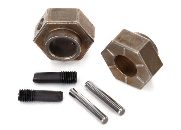 Traxxas; Wheel hubs, 12mm hex (2)/ stub axle pins (2) (steel) (fits TRX-4)
