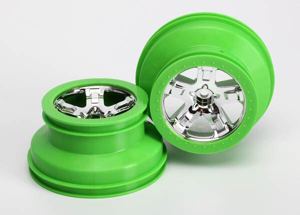 Traxxas; Wheels, Sct, Chrome, Green Beadlock Style, Dual Profile